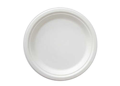 Go-Green Eco-Friendly 100% compostable, Sugarcane Fiber, Disposable 10-Inch Plate, 125 Pack (Int Fiber)