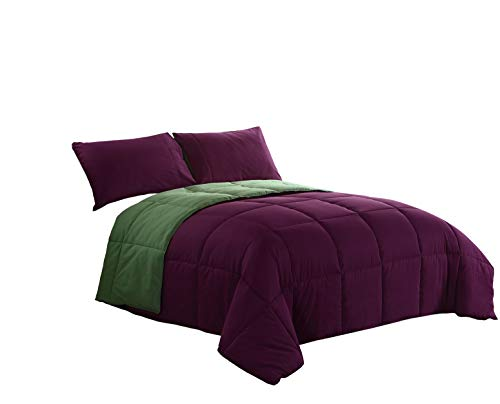 (Purple/Green 2-Piece Reversible Down Alternative Comforter Set | Size : Twin | One Day Sale)