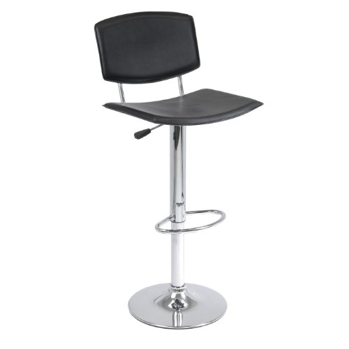 Spectrum Air Lift Stool Black, Curved Seat Faux Leather, Single, RTA NoPart: 93140 (Winsome Single Air)