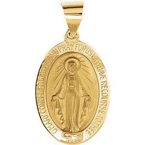 14K jaune 25x 17.75mm creux ovale Médaille Miraculeuse