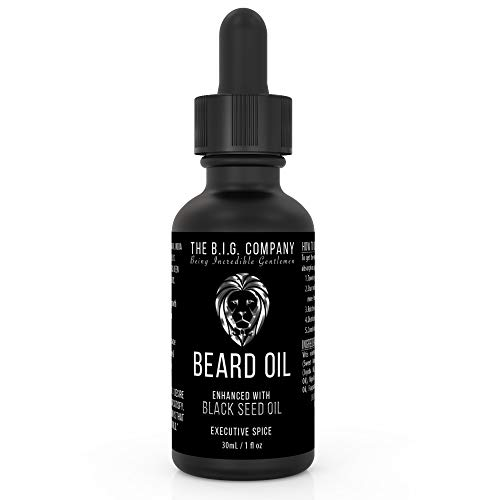 The B.I.G. Company Beard Oil – Infused with Jojoba Oil & Ancient Blackseed Oil for Promoting Mustache & Beard Growth, Deep Conditioning, Anti-Aging & Helps Acne Prone Skin – Stops Itching, Strengthens