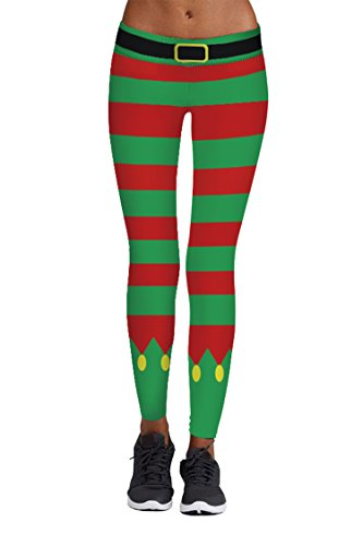 Pink Queen Girl's Red And Green Fair Isle Print Leggings Christmas Pattern 15 US (Red And Green Leggings)