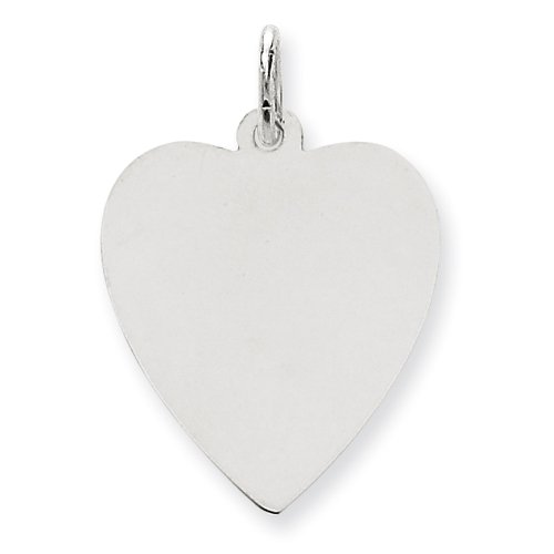 (14k White Gold Solid Polished Engravable Plain .027 Gauge Engraveable Heart Charm)