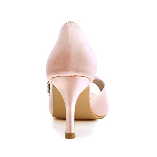 D'orsay ElegantPark Partito Tacco Satin Pompe Donna Sposa Da Spillo Toe HP1542 Blush Strasss Peep A Scarpe FYrEqwYx