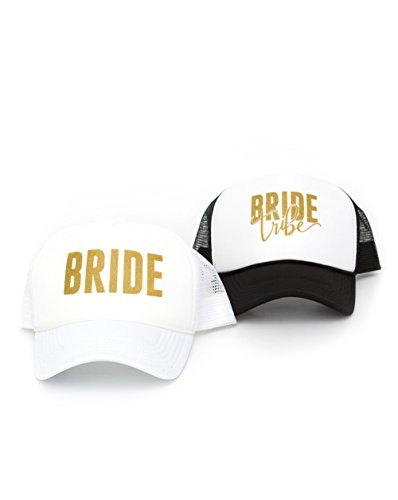 [Fun Bride Tribe and Bride Bachelorette Party Hats - Bachelorette Party Accessories (White (Bride))] (All White Party Outfit Ideas)