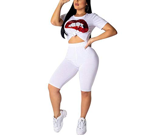 JUNBOON Womens Sexy 2 Piece Sports Outfit Set Lip Sequins Crop Top Bodycon High Waist Shorts Clubwear Tracksuit White