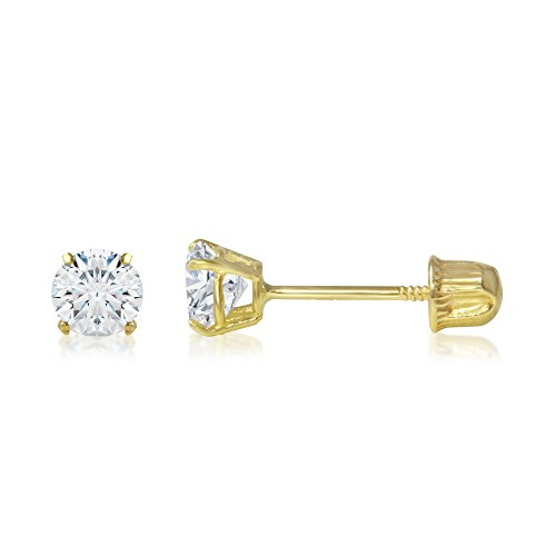 Ioka - 14K Yellow Gold Round Solitaire Cubic Zirconia CZ Stud Screw Back Earrings - 0.25ct (4mm) ()