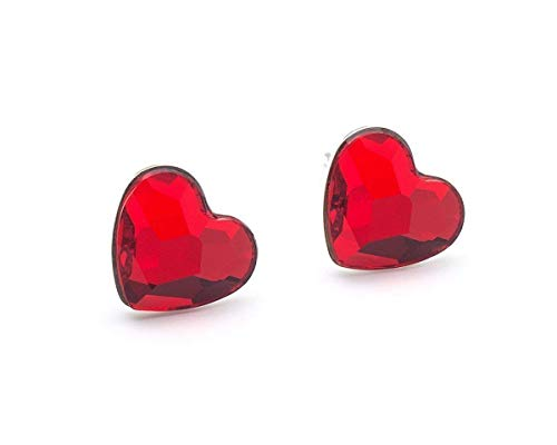 Red Swarovski Heart Small Stud Crystal Sterling Silver 925 Post Earrings 0.4 Inches