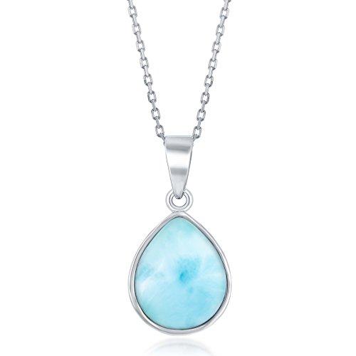 Sterling Silver High Polish Bezel-Set Teardrop Natural Larimar 18 Pendant Necklace