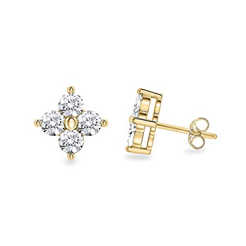 - 0.30 Carat Round Cut White Natural Diamond Clover Stud Earrings in 14K Yellow Gold
