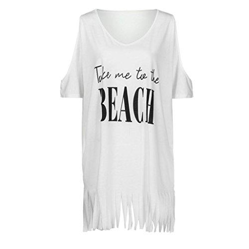 LiucheHD Da Sexy Beach Cocktail Vestito Abito Tassel Swimwear Festa Bianco Letters Baggy Bowknot Mini Stampa Casual Delle Elegante Donne Lunga T Maniche Da Shirt Con Bikin Corte Womens Dress r8xqrP