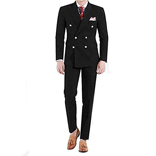 Onlylover Double Breasted Black Wedding Suits 2 Pieces Men Suits Groom Tuxedos