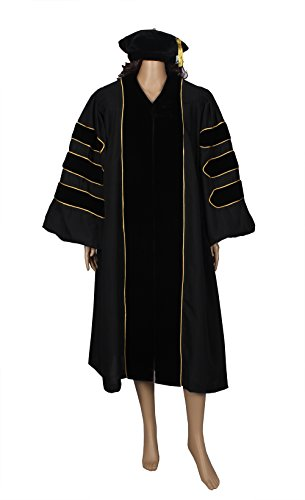 HappySecret Happy Secret Doctoral Gown Tam and Gown With Gold PINGING by HappySecret