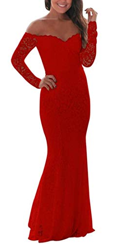 57dd853f05 Alion Women's Off Shoulder Long Sleeve Lace Bodycon Mermaid Prom ...