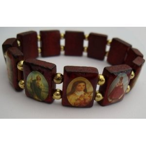 catholic saints bracelet wood saints icon catholic bracelet st jesus 480