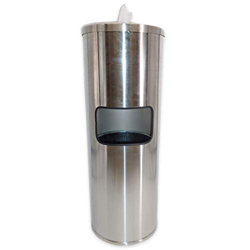 EAGLE WIPES Sanitizing Wipes Dispenser and Trash Can Set for Gyms, Offices, Hospitals, Schools, Restrooms - Stainless Steel Sanitizer Dispensers with Disposal and Antibacterial Cleaning Wipe Holder