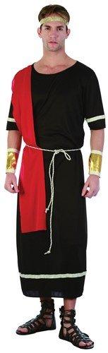 Caesar Roman Black Toga Male Fancy Dress Costume - One Size