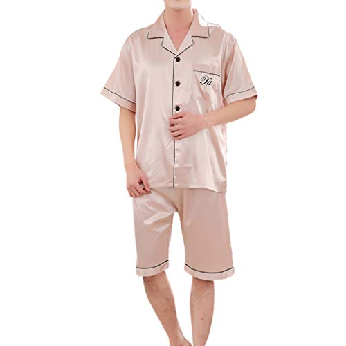 r Pajama Set, Men Spring Solid Pajama Set Casual Nightwear Short Sleeve Top Blouse and Shorts Set Beige ()