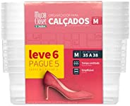 Conjunto de 6 Caixas para Sapato, Shoe Box, Tam M 35 a 38, Cristal, Ordene