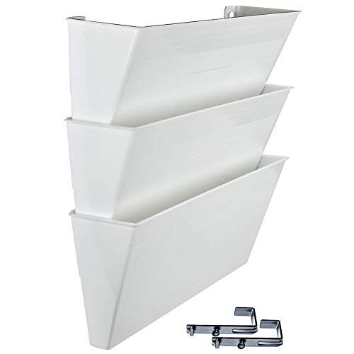 Acrimet Wall Mount Pocket File Organizer Holder (Hangers Included) (White Color) (3 Pack)