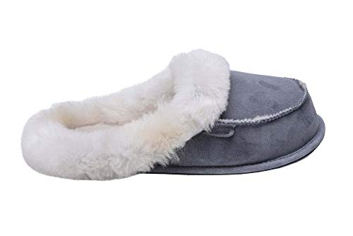 Chaud Manchette Laine W73 Blanc De Pantoufles Peau Femmes Chaussons Luxe Mouton Gris avec Double Rusnak Vogar OPvBFwqF7