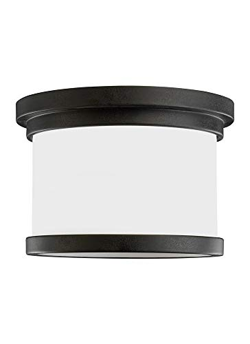 Sea Gull Lighting 78660-185 Flush Mount with Satin Etched Glass Shades, Forged Iron Finish