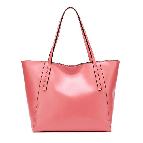CHERRY CHICK Women's Shoulder Bag Genuine Leather Tote Bags Oversized Soft Hot (Watermelon Pink-9817) ()
