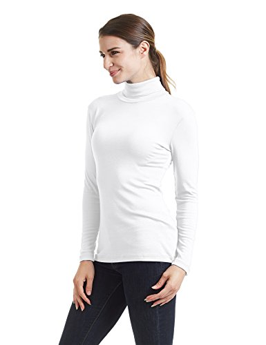 Long Sleeve Spandex Mock Turtleneck (Come Together California CTC WT950 Womens Long Sleeve Turtleneck Top Pullover Sweater XXL White)