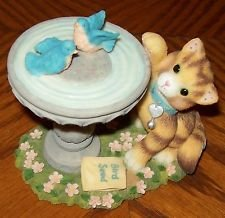 """Cheap Calico Kittens """"Friends of a Feather Flock Together"""" Kitten with Bird Bath"""