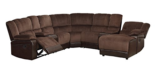 Homelegance 5 Piece Microfiber/Bonded Leather Sectional Reclining Sofa with  Chaise, Brown