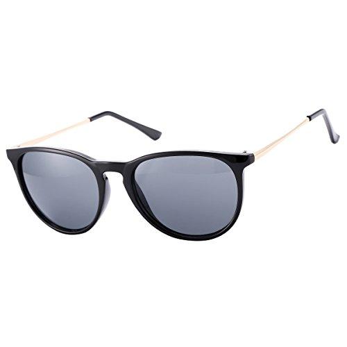 COASION Vintage Round Erika Style Sunglasses for Women – UV 400 Protection (Black, - Glasses Erika