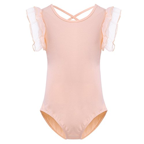 iiniim Kids Girls Gymnastics Camisole Ballet Dance Leotard Princess Dancewear Peach-orange 4