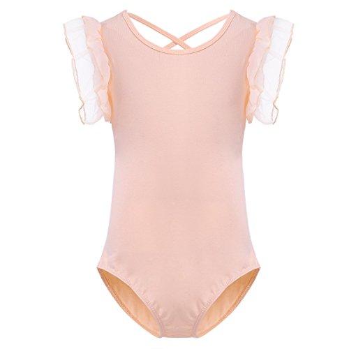 (iiniim Kids Girls Ruffle Short Sleeve Gymnastics Ballet Dance Leotard Fairy Princess Dancewear Costumes Peach-orange)