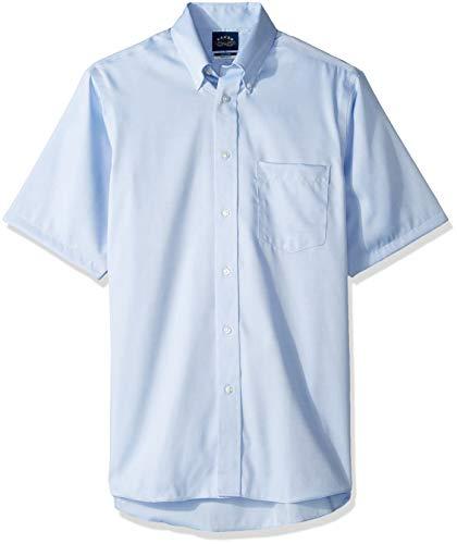Eagle Men's Short Sleeve Dress Shirt Non Iron Regular Fit, Blue Mist, 17.5