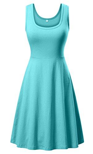 DB MOON Women's Summer Beach A Line Dress Casual Flared Sleeveless Tank Dresses (Medium, Mint)