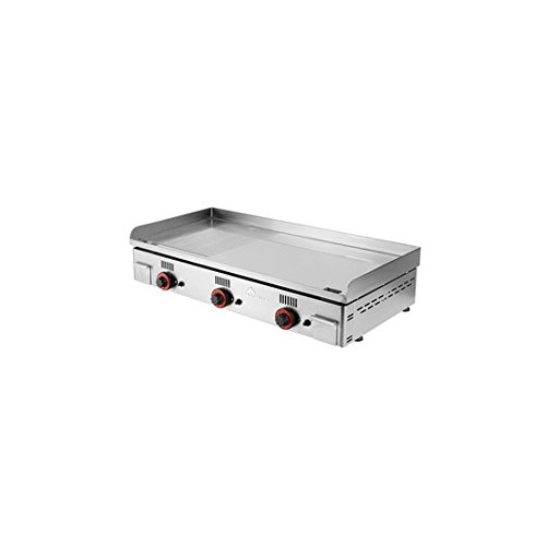 MAINHO Plancha de gas chrome semi-ranurada 100 x 43 x 1,5 cm ...