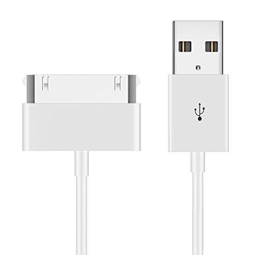JETech USB Sync and Charging Cable for Apple iPhone 4/4s, iPhone 3G/3GS, iPad 1/2/3, iPod, 3.2 Feet (White) (4s Cord Apple)