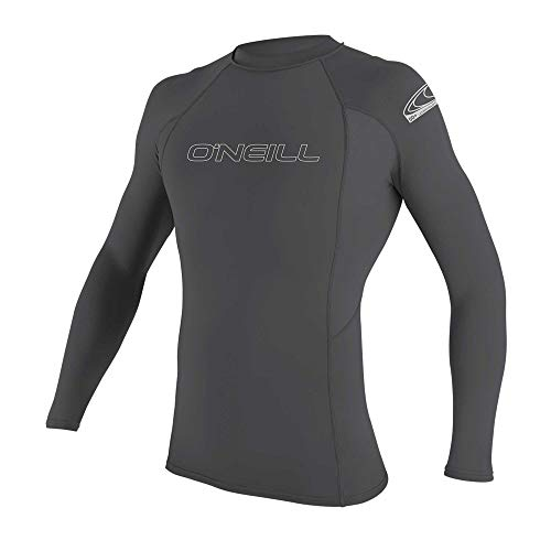O'Neill Men's Basic Skins UPF 50+ Long Sleeve Rash Guard, Smoke, Large