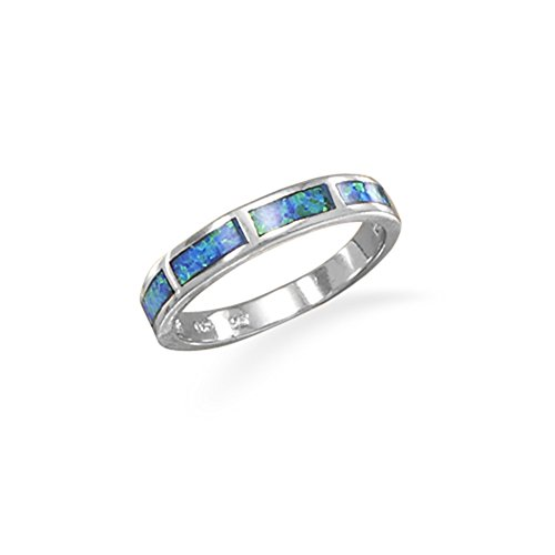 Synthetic Blue Opal Band Ring Inlaid Synthetic Stone Polished Finish (Opal Wide Band Ring)