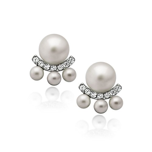 925 Sterling Silver Earrings, Pearl Earrings, Ear Jacket Classic Simulated Shell Pearl Stud Earrings 4mm & 6mm White Round Pearl Earrings