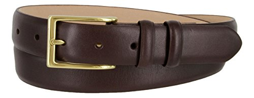 Adam Gold Men's Genuine Italian Calfskin Leather Dress Belt (38, Smooth Brown) (Buckle Adam Belt)