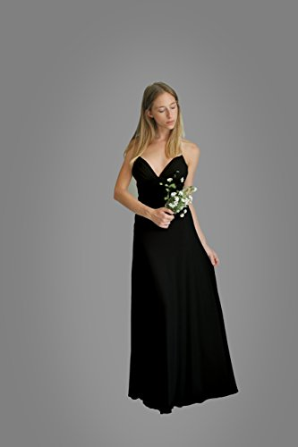 Women's Dress, Black Evening Dress, Size L, Maxi Long Dress for Wedding or Bridesmaid, Chiffon Lycra Classic Gown by Guy Sharon