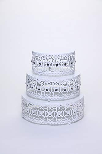 Opulent Treasures Set of 3 Riser Round Metal Cake Stands Clear Bead Decor (White) -