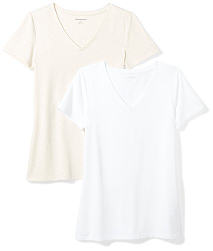 Amazon Essentials Women's 2-Pack Short-Sleeve V-Neck Solid T-Shirt, Oatmeal Heather/White, X-Large