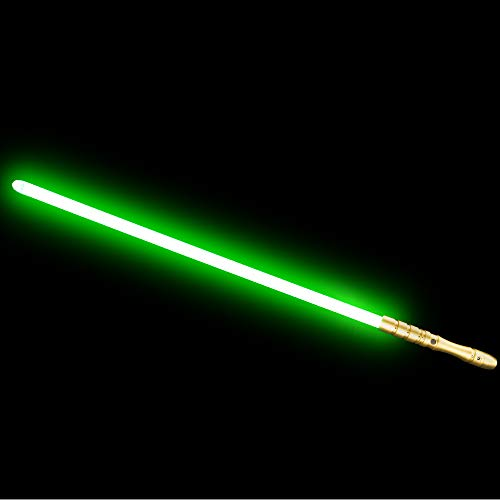 (YDD Star Wars LED Light Up Saber Force FX Sword Heavy Dueling, Rechargeable Lightsaber, Loud Sound Hight Light with FOC, Metal Hilt Light Sword , Chrismas Toy Gift for Kids(Gold Hilt Green Blade))