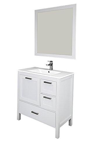 """Siena 36"""", white, solid doors, ceramic sink by Priele"""