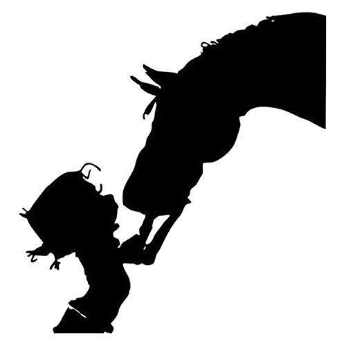 Scrapbooking Stickers & Sticker Machines, Vinyl Decal Sticker, 1PC 13.5cmx14.2cm Girl Cowgirl Kiss Horse Fashion Car Accessories Stickers Vinyl Decals For Cars - Black