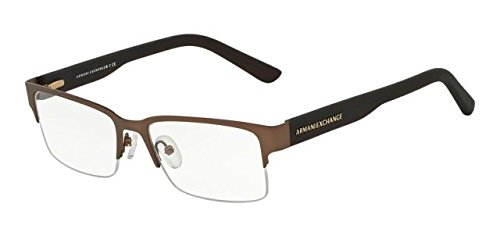 Armani Exchange AX1014 Eyeglass Frames 6058-53 - Satin Dark Brown/Dark Olive - Prescription Frames Glasses Armani