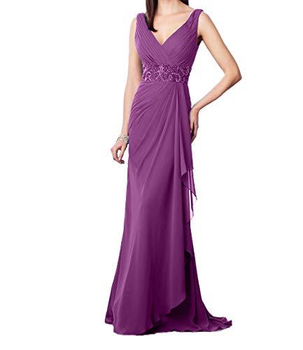 Festlichkleider Perlen Promkleider Lila Elegant Charmant Pailletten V mit Ausschnitt Damen Hell Abendkleider Ballkleider w6wRqp0z