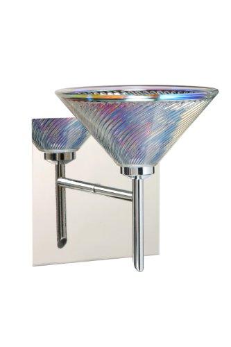 Besa Lighting 1SW-550493-CR-SQ 1X40W G9 Kona Square Canopy Wall Sconce with Dicro Swirl Glass, Chrome - Swirl Dicro